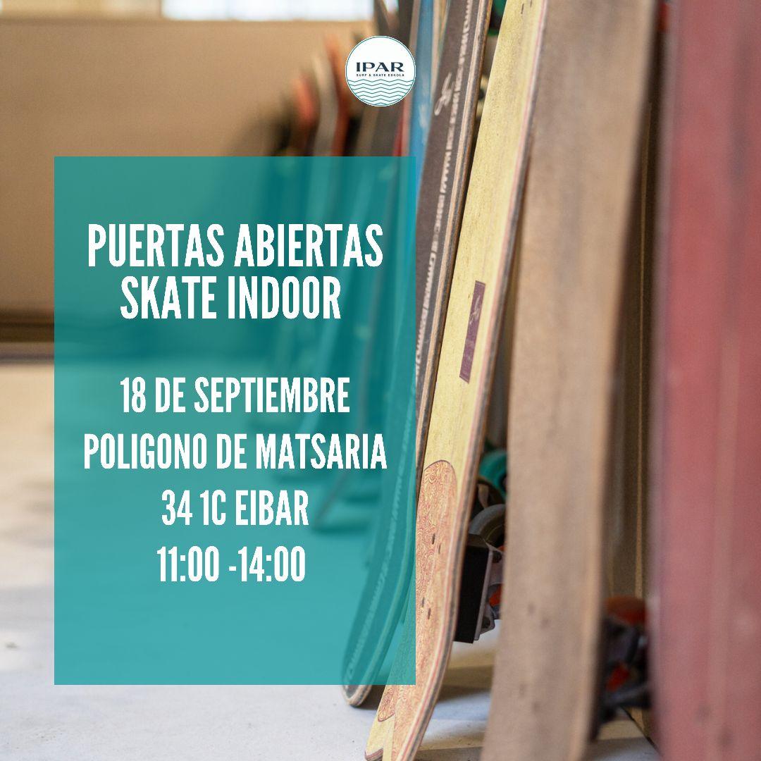 Jornada puertas abiertas Skatepark indoor en Eibar - IPAR escuela de skate o patineta